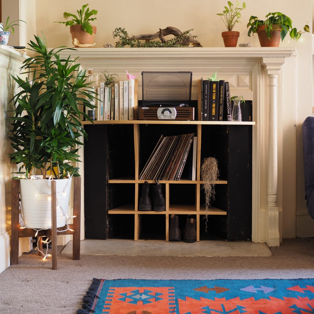 Fireplace Record Stand